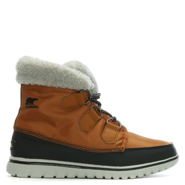 Shoes|Women's Shoes|Boots|Trainers & Running Shoes Cozy Carnival Caramel & Black Lace Up Sporty Fleece Lined Boots