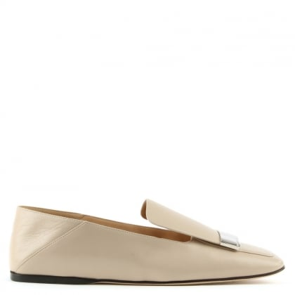 Cream Leather Silver Plaque Loafer