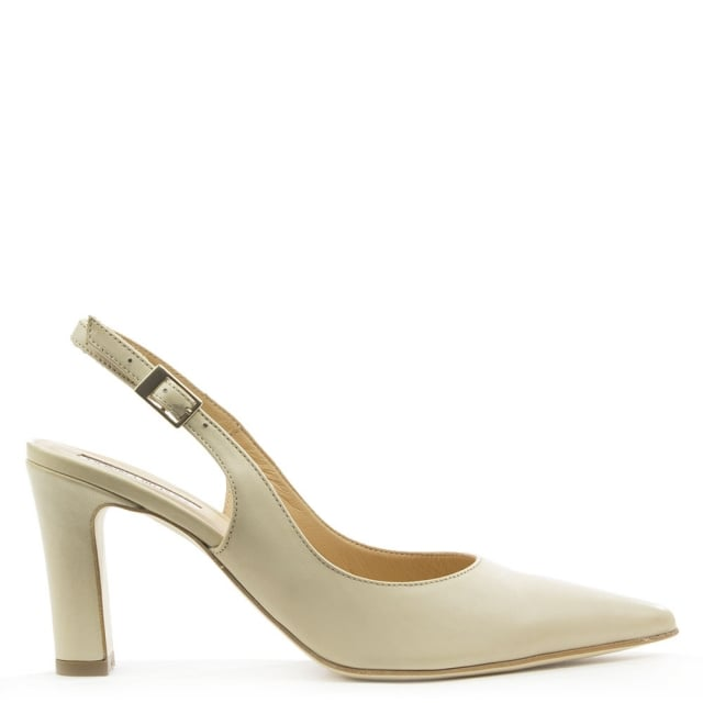 Cream Leather Sling Back Court Shoe