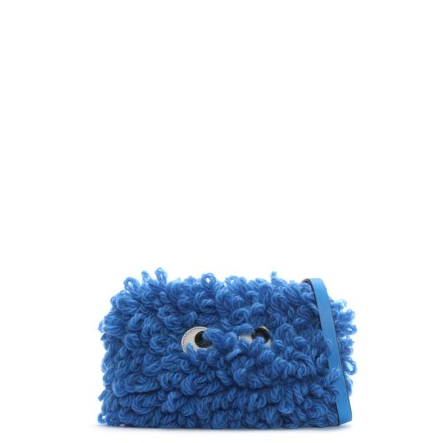 Anya Hindmarch Creeper Cupola Blue Wool Cross-Body Bag