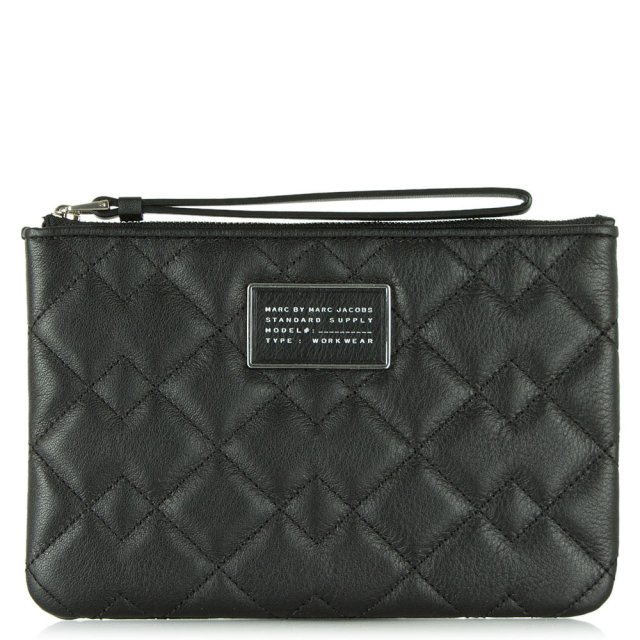 Crosby Black Leather Quilted Wrist-Let Pouch