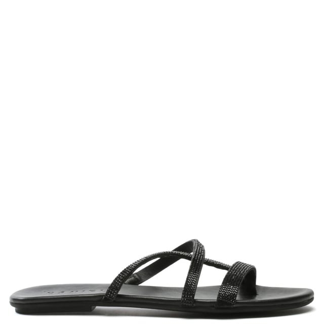 Crysrallise Black Leather Strappy Sandal