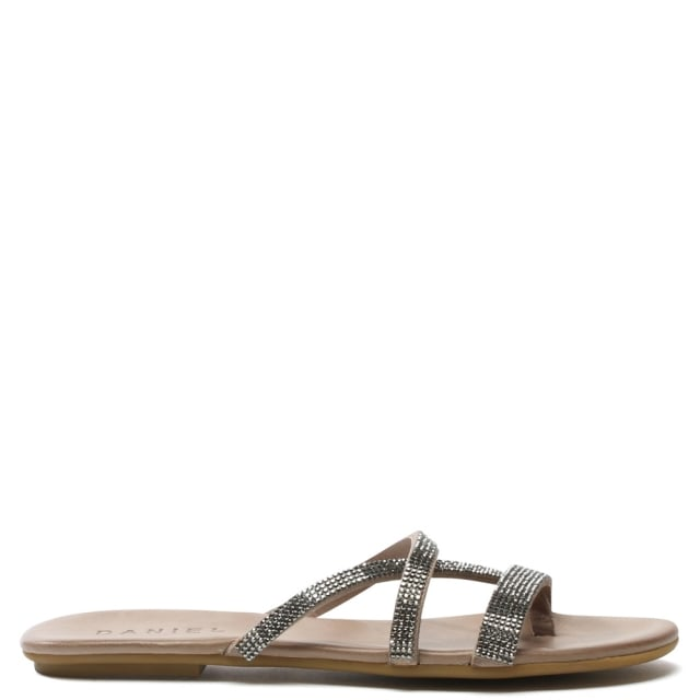Crysrallise Grey Leather Strappy Sandal
