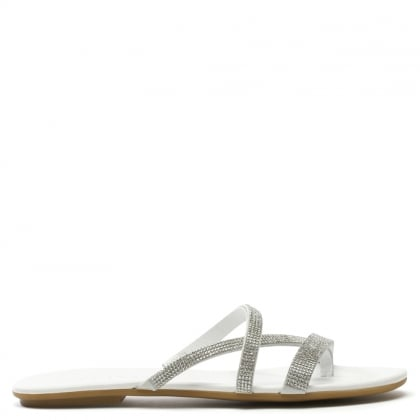 Crysrallise White Leather Strappy Sandal