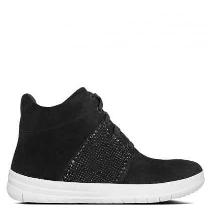 Crystal Black Suede High Top Trainers