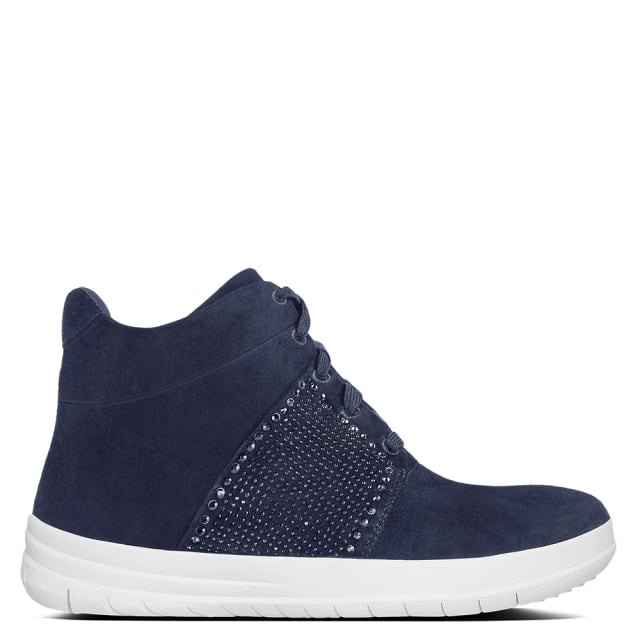 Crystal Navy Suede High Top Trainers