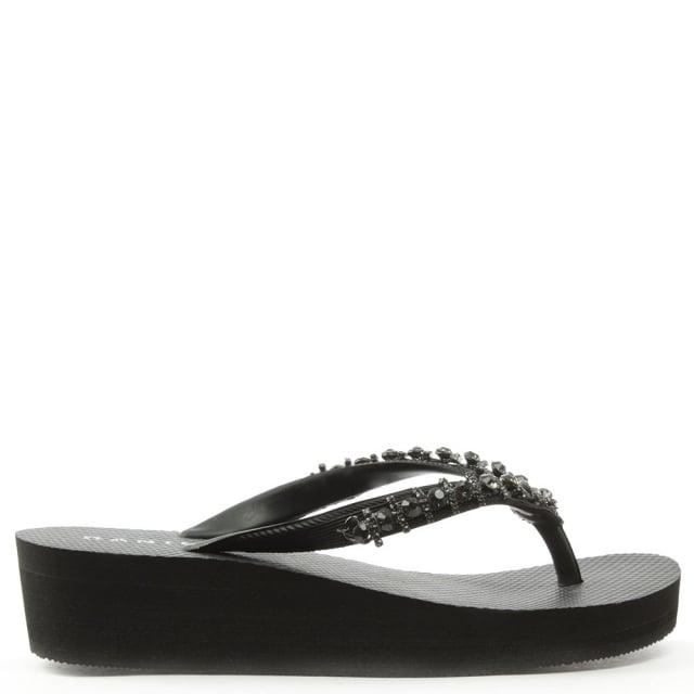 82592b2d6 Daniel Crystal Toe Post Black Wedge Flip Flop