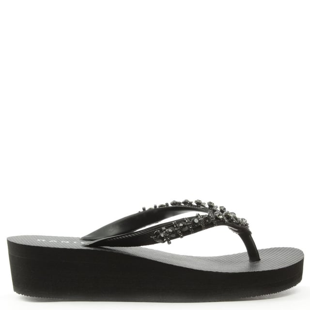 Crystal Toe Post Black Wedge Flip Flop