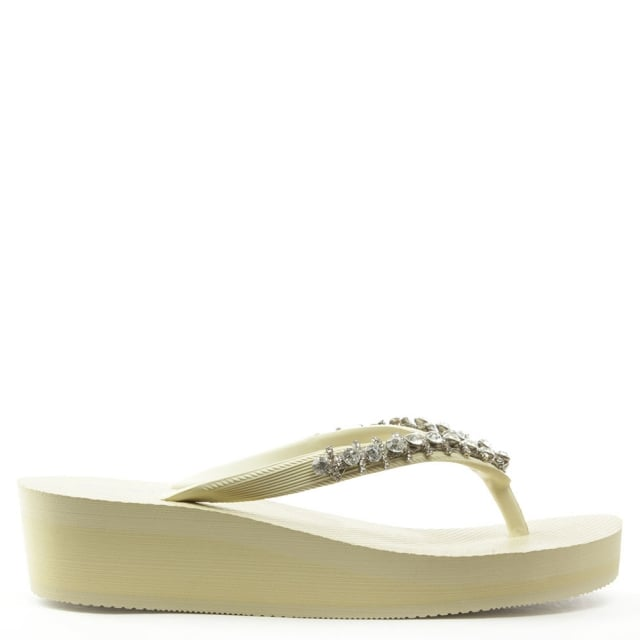 Crystal Toe Post Nude Wedge Flip Flop