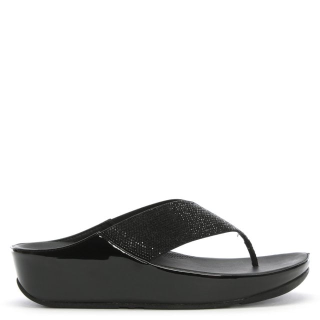 2886da5c018 FitFlop Crystall Black Metallic Toe Post Sandals