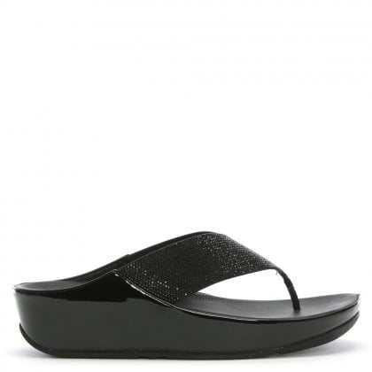 c68d0a2a3b9739 Crystall Black Metallic Toe Post Sandals