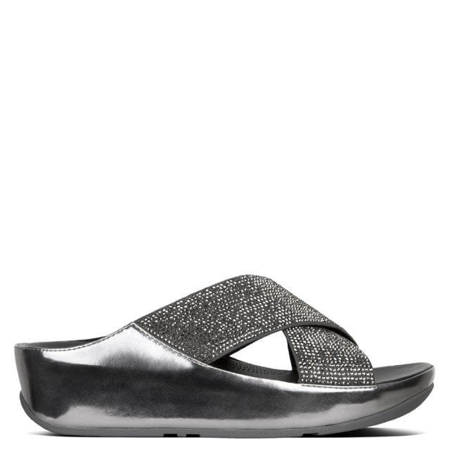 4a4907a2798 FitFlop Crystall Pewter Metallic Glitter Sliders