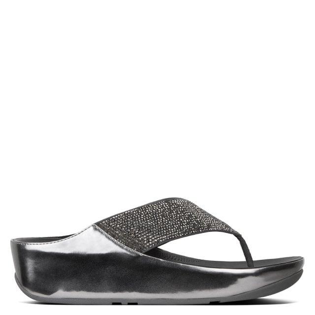 Crystall Toe Post Metallic Sandals Pewter vmfYgI6yb7