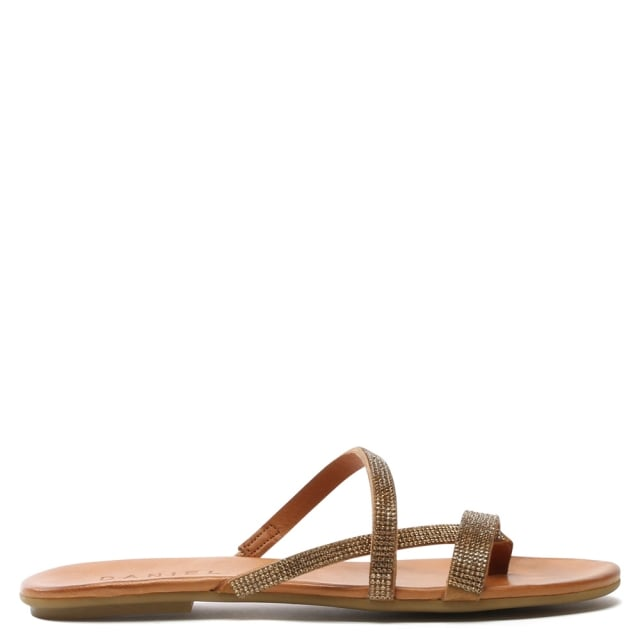 Crystallise Tan Leather Strappy Sandal