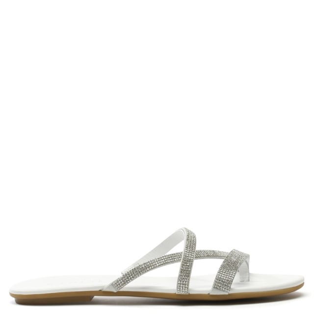 Crystallise White Leather Strappy Sandal