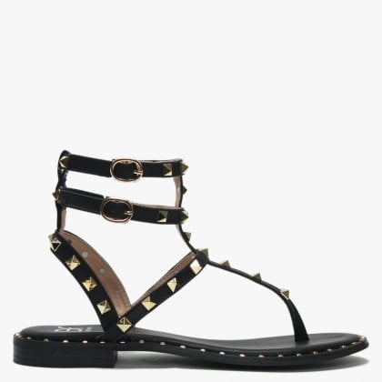 77121655656 Cube Black Square Studded Gladiator Sandals