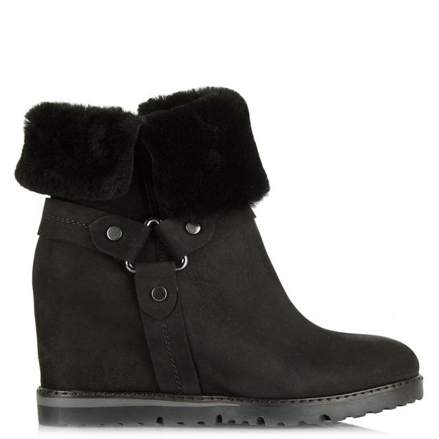 Cuffie Black Suede Wedge Ankle Boot