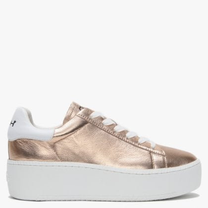 5d450f36aafe Cult Rose Gold Leather White Flash Flatform Trainers