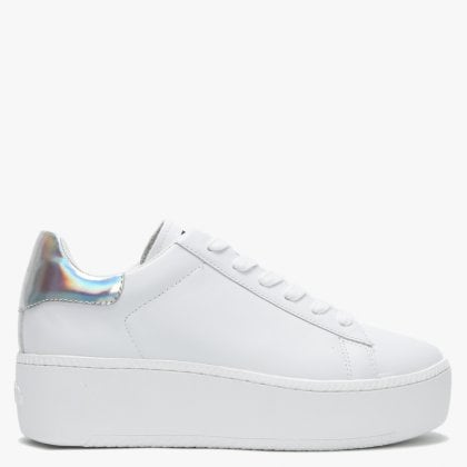 90108bf2b72 Cult White Leather Silver Flash Flatform Trainers