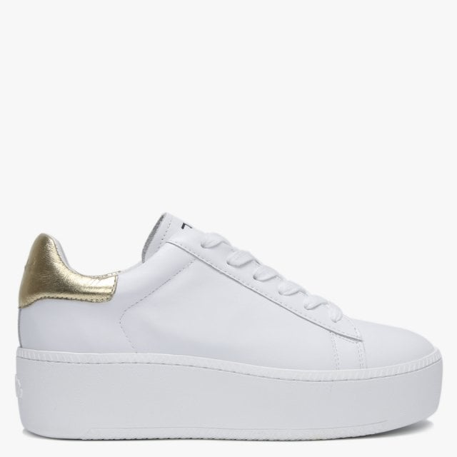 Ash Cult White Leather Gold Flash