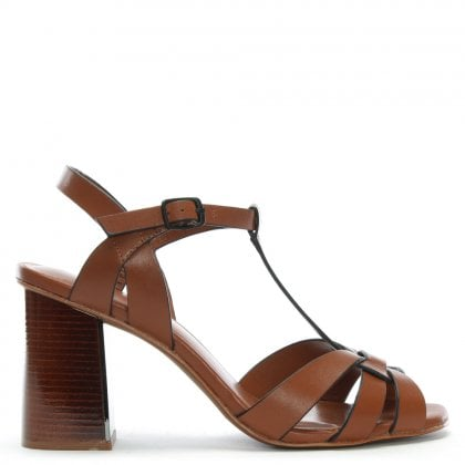 Curing Tan Leather T Bar Block Heel Sandals