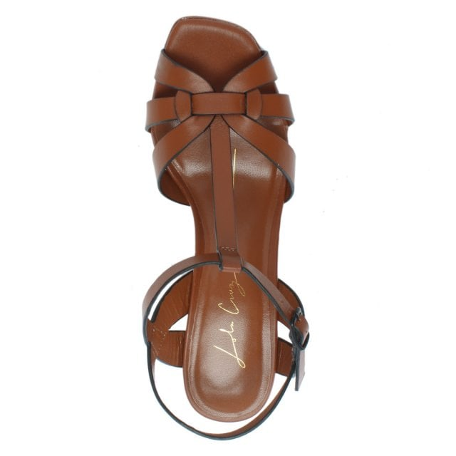 Lola Cruz Curing Tan Leather T Bar Block Heel Sandals