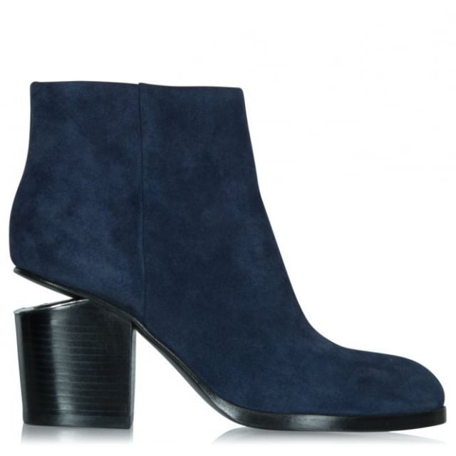Cut Out Block Heel Navy Suede Ankle Boot
