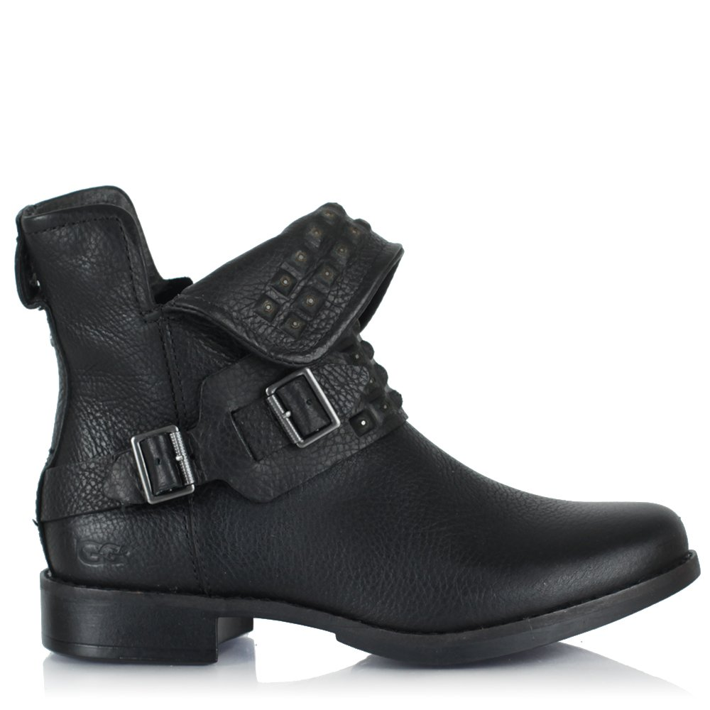 a6064bc0289 Cybele Stud Black Leather Studded Monk Strap Biker Ankle Boot