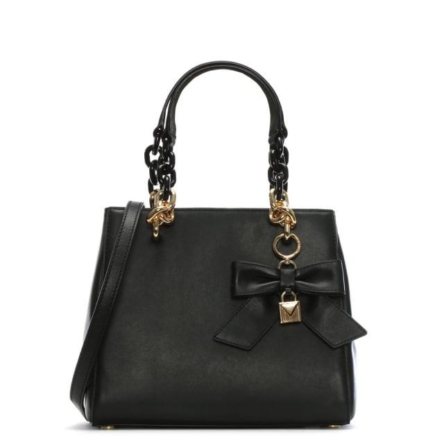 Michael Kors Cynthia Black Leather Bow Satchel Bag 8fb3447a8e4fc