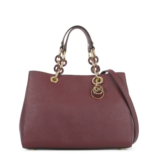 Cynthia Chain Handle Plum Leather Satchel