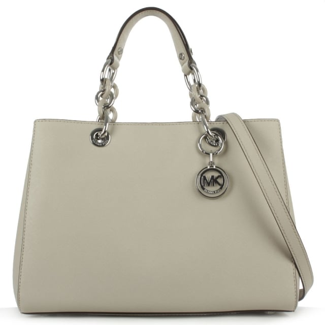 Cynthia Grey Leather Saffiano Satchel Bag