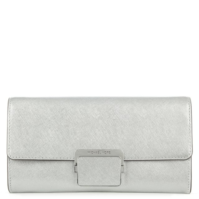 Cynthia Silver Leather Large Clasp Clutch