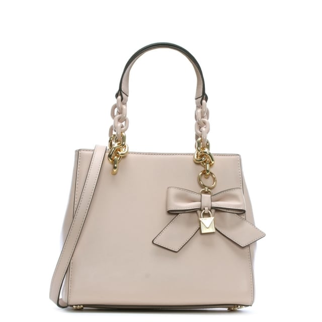 Cynthia Soft Pink Leather Bow Satchel Bag