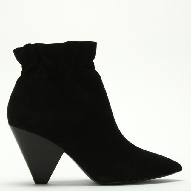 8f801d519da Dafne Black Suede Rouched Top-Line Ankle Boots