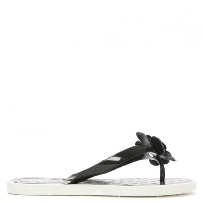Daisy Chain Black Floral Toe Post Flip Flop
