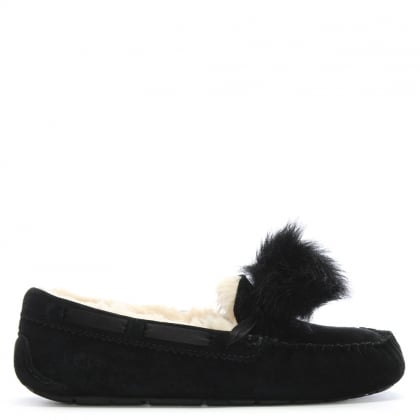 Dakota Black Suede Pom Pom Slippers