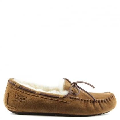 Dakota Chestnut Suede Moccasin Slipper