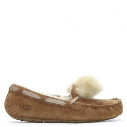 Dakota Chestnut Suede Pom Pom Slippers