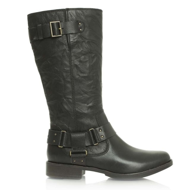 Damien Black Leather Knee High Biker Boot