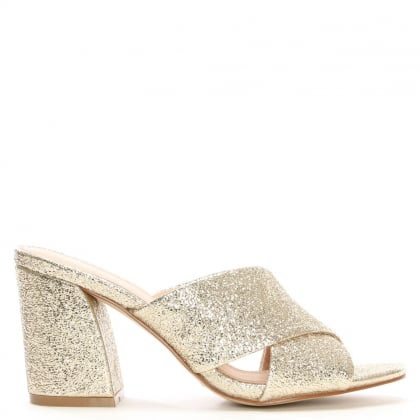 Dana Cracked Gold Metallic Leather Cross Strap Mules