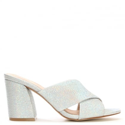Dana Cracked Silver Metallic Leather Cross Strap Mules