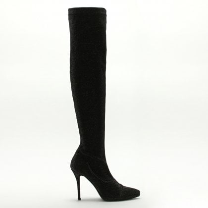 444cadf1132 Arla Black Metallic Stretch Over The Knee Boots