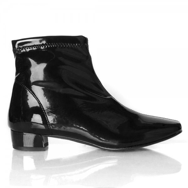 Black Patent Ankle Boots - Yu Boots