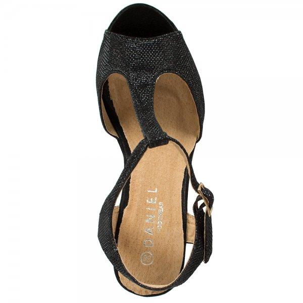 Daniel Nailers Black Metallic T Bar Wedge Platform Sandal