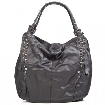 Daniel SLOUCHY STUD Black Leather Womens Shoulder Bag