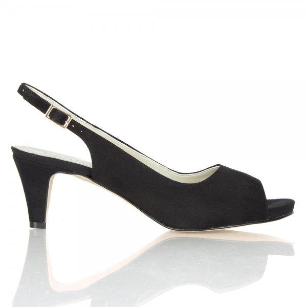 72be8f126ce Doozie Black Suede Slingback Peep Toe Shoe