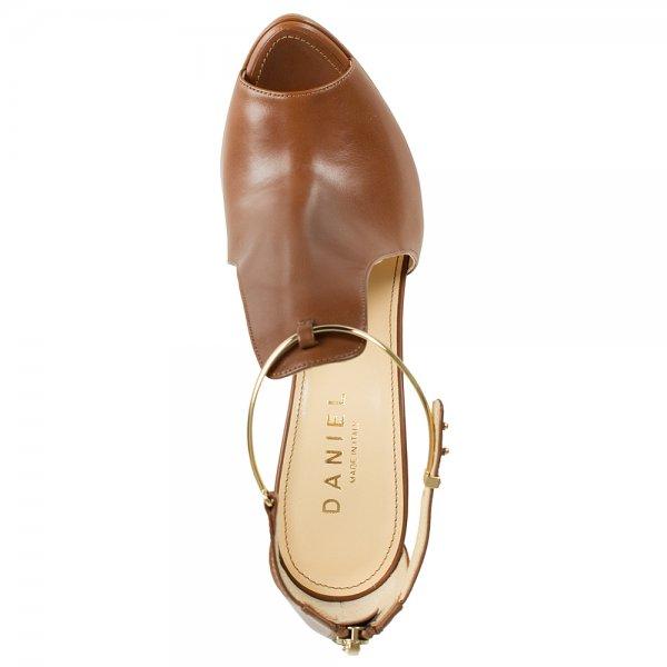 f962f7dbc2ca1d Gold Tan Cut Out Leather Women  039 s Heeled Sandal