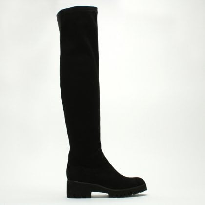7ad16ea4b80 Laquila Black Stretch Chunky Sole Over The Knee Boots