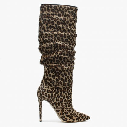 dab72bd06c9 Leopole Leopard Calf Hair Ruched Knee Boots