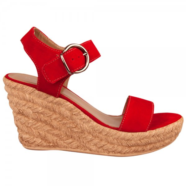 Red Tipi Women's Raffia Wedge Sandal - Daniel Red Tipi Women's Raffia Wedge Sandal